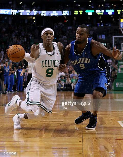 Rajon Rondo of the Boston Celtics drives against Rashard Lewis of the Orlando Magic in Game Six of the Eastern Conference Finals during the 2010 NBA...