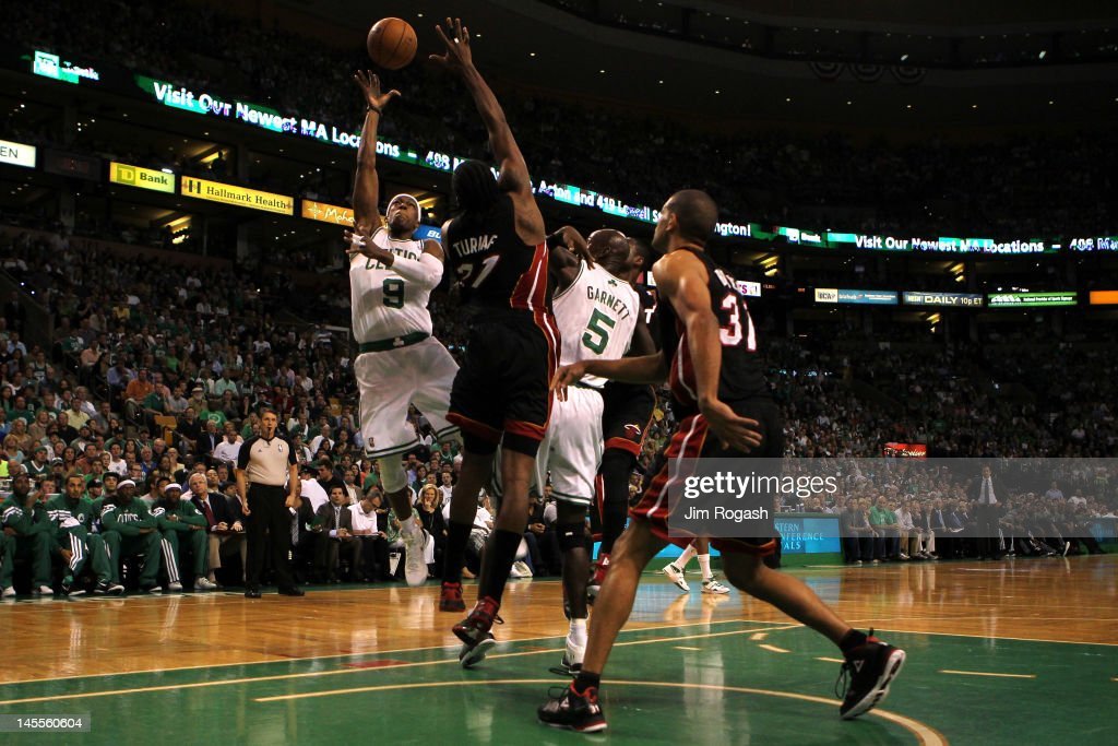 Rajon Rondo #9 of the Boston Celtics drives for a shot attempt in the first quarter against Ronny Turiaf #21 of the Miami Heat in Game Three of the Eastern Conference Finals in the 2012 NBA Playoffs on June 1, 2012 at TD Garden in Boston, Massachusetts.