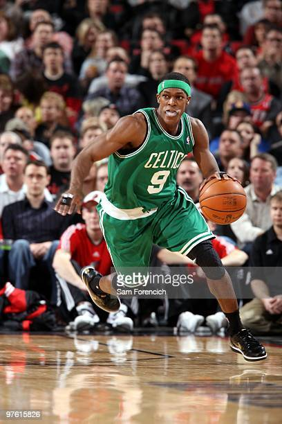 Rajon Rondo of the Boston Celtics drives the ball up court during the game against the Portland Trail Blazers at The Rose Garden on February 19 2010...