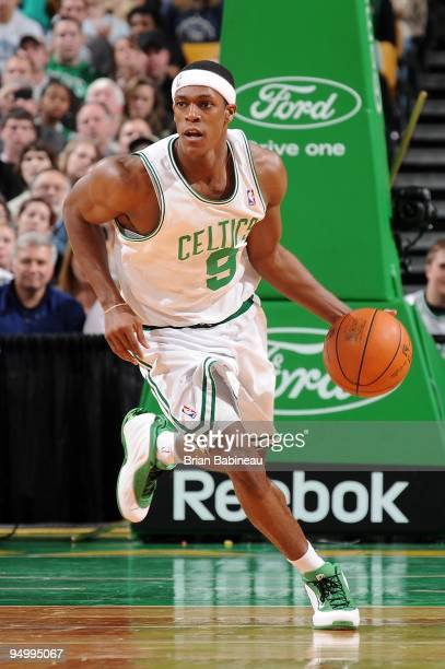 Rajon Rondo of the Boston Celtics drives the ball upcourt against the Milwaukee Bucks during the game on December 8 2009 at TD Banknorth Garden in...