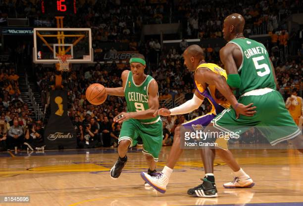 Rajon Rondo of the Boston Celtics drives to the basket against Kobe Bryant of the Los Angeles Lakers in Game Four of the 2008 NBA Finals at Staples...