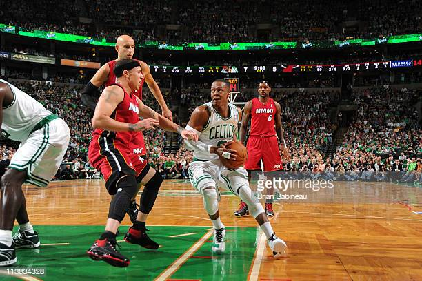 Rajon Rondo of the Boston Celtics drives to the basket against Mike Bibby of the Miami Heat during Game Three of the Eastern Conference Semifinals in...