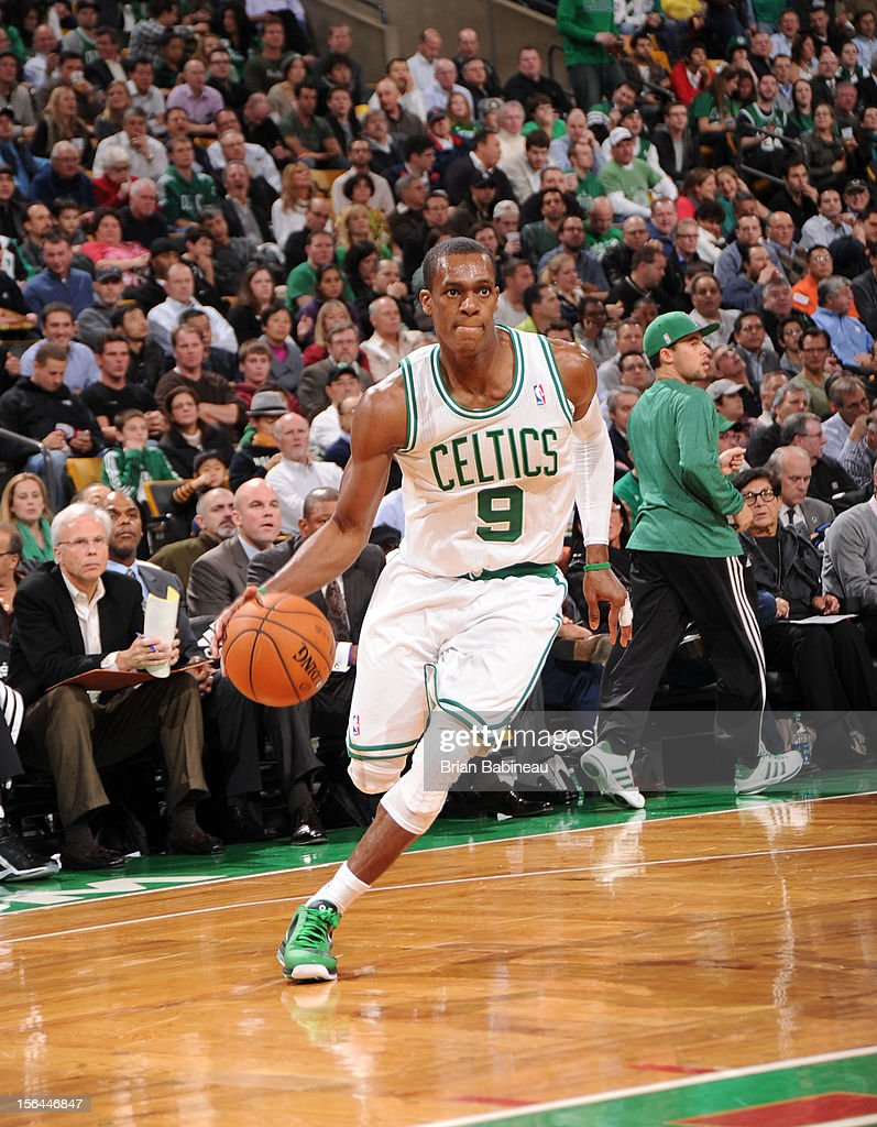 Rajon Rondo #9 of the Boston Celtics drives to the basket against the Utah Jazz on November 14, 2012 at the TD Garden in Boston, Massachusetts.