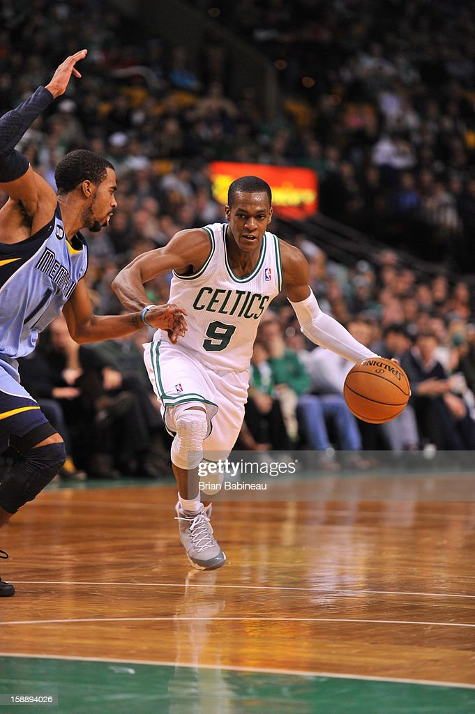 Rajon Rondo #9 of the Boston Celtics drives to the basket against the Memphis Grizzlies on January 2, 2013 at the TD Garden in Boston, Massachusetts.