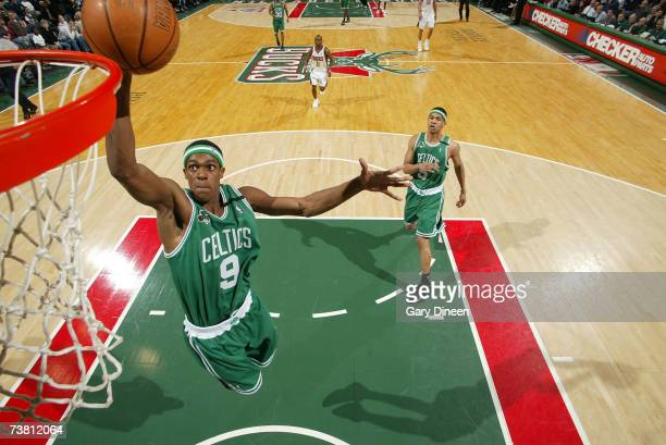 Rajon Rondo of the Boston Celtics dunks the ball against the Milwaukee Bucks on April 4 2007 at the Bradley Center in Milwaukee Wisconsin NOTE TO...