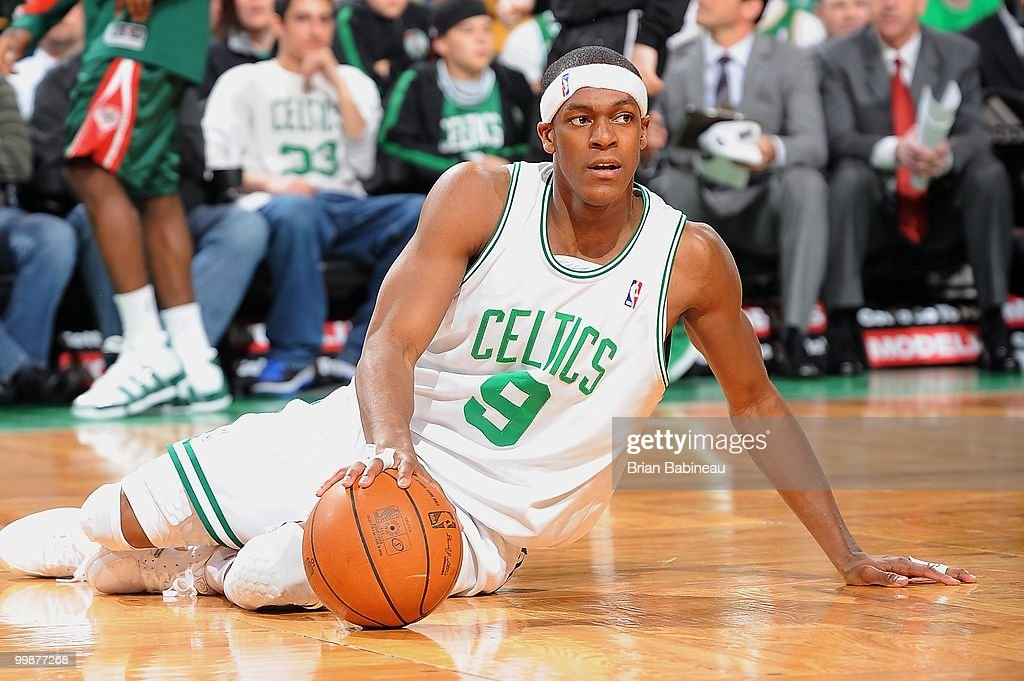 Rajon Rondo #9 of the Boston Celtics falls to the floor during the game against the Milwaukee Bucks on April 14, 2010 at the TD Garden in Boston, Massachusetts. The Bucks won 106-95.