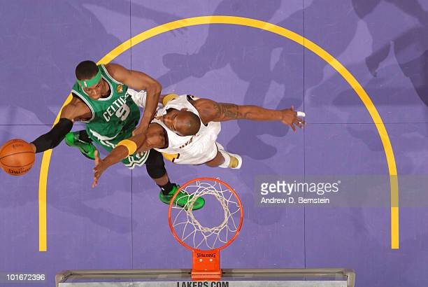 Rajon Rondo of the Boston Celtics goes up for a shot against Kobe Bryant of the Los Angeles Lakers in Game Two of the 2010 NBA Finals on June 6 2010...