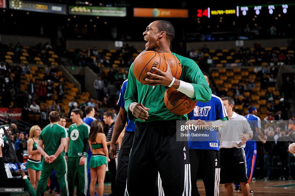 Rajon Rondo #9 of the Boston Celtics laughs during warm-ups before a game against the New York Knicks on January 24, 2013 at the TD Garden in Boston, Massachusetts.