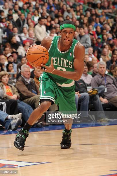 Rajon Rondo of the Boston Celtics moves the ball against the Los Angeles Clippers during the game at Staples Center on December 27 2009 in Los...