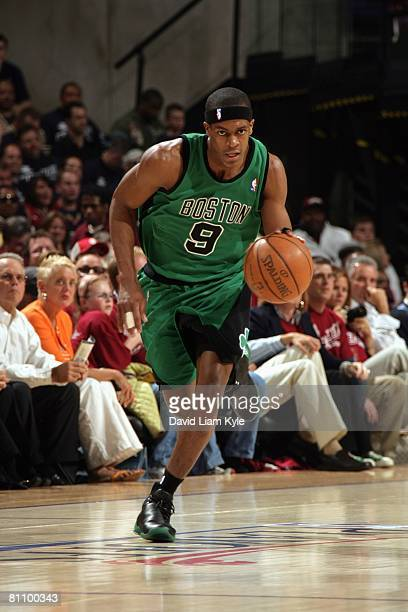 Rajon Rondo of the Boston Celtics moves the ball up court in Game Four of the Eastern Conference Semifinals against the Cleveland Cavaliers during...