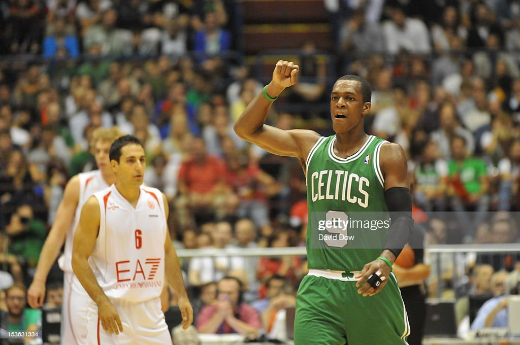 Rajon Rondo #9 of the Boston Celtics reacts during the game between the Boston Celtics and the EA7 Emporio Armani Milano during NBA Europe Live Tour at the Mediolanum Forum on October 7, 2012 in Milan, Italy.