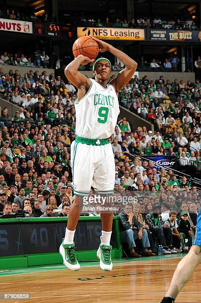 Rajon Rondo of the Boston Celtics shoots a jump shot against the Orlando Magic in Game Five of the Eastern Conference Semifinals during the 2009 NBA...