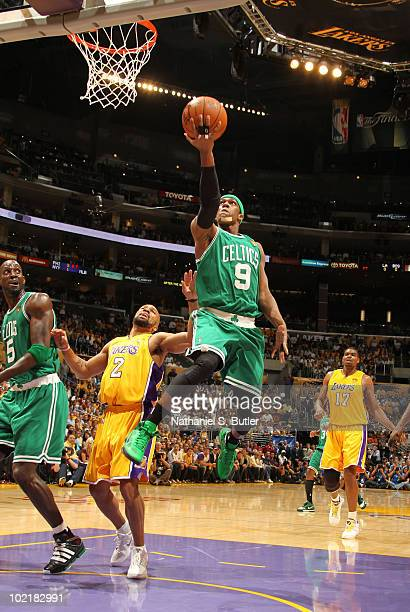 Rajon Rondo of the Boston Celtics shoots against Derek Fisher of the Los Angeles Lakers in Game Seven of the 2010 NBA Finals on June 17 2010 at...