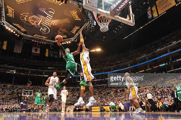Rajon Rondo of the Boston Celtics shoots against Kobe Bryant of the Los Angeles Lakers in Game Two of the 2010 NBA Finals on June 6 2010 at Staples...