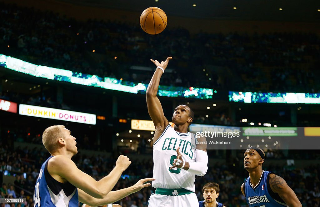 Rajon Rondo #9 of the Boston Celtics takes a shot against the Minnesota Timberwolves during the game on December 5, 2012 at TD Garden in Boston, Massachusetts. This is Rondo's first game back since his two-game suspension.