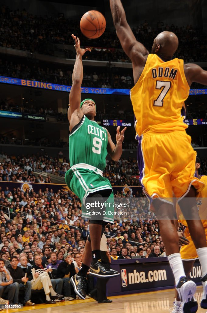 Rajon Rondo #9 of the Boston Celtics throws up a shot against Lamar Odom #7 of the Los Angeles Lakers at Staples Center on February 18, 2010 in Los Angeles, California.