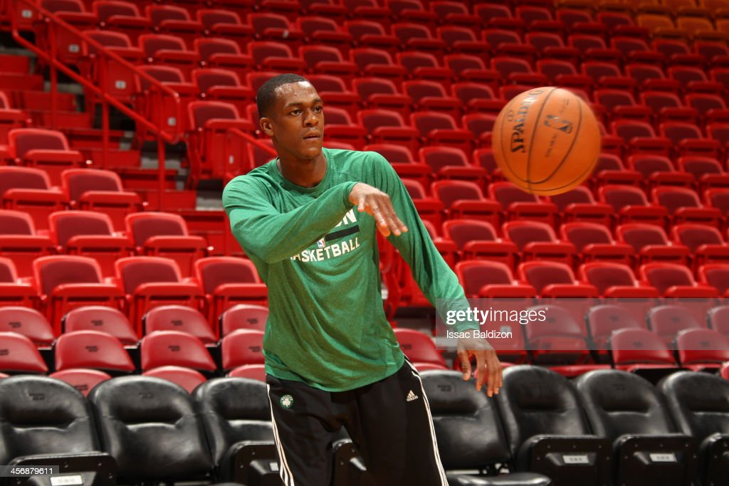Rajon Rondo #9 of the Boston Celtics warms-up against the Miami Heat on November 9, 2013 at American Airlines Arena in Miami, Florida.