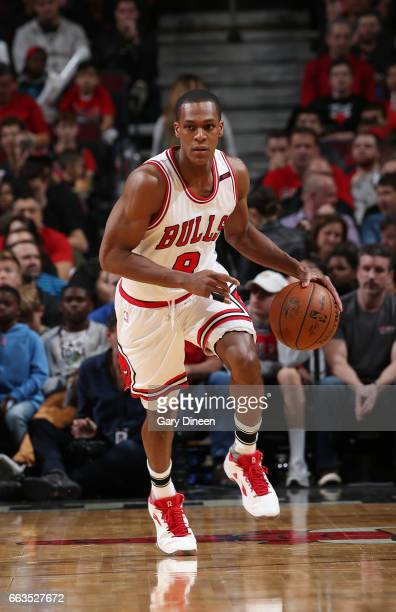 Rajon Rondo of the Chicago Bulls drives to the basket against the Atlanta Hawks during the game on April 1 2017 at the United Center in Chicago...