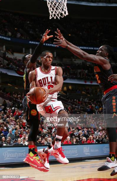 Rajon Rondo of the Chicago Bulls handles the ball against the Atlanta Hawks during the game on April 1 2017 at the United Center in Chicago Illinois...
