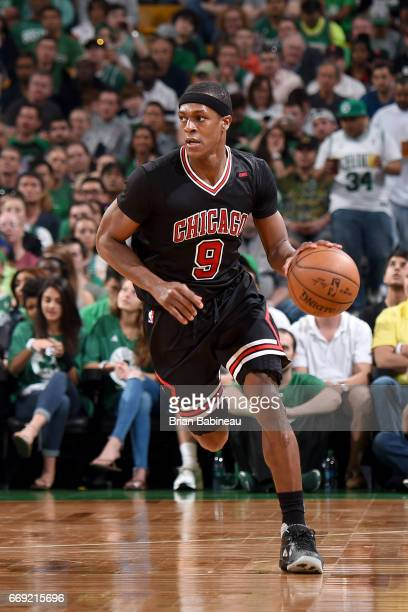 Rajon Rondo of the Chicago Bulls handles the ball against the Boston Celtics during the Eastern Conference Quarterfinals of the 2017 NBA Playoffs on...