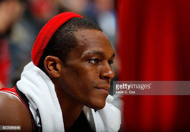 Rajon Rondo of the Chicago Bulls looks on from the bench in the final minutes of their 115107 loss to the Atlanta Hawks at Philips Arena on November...