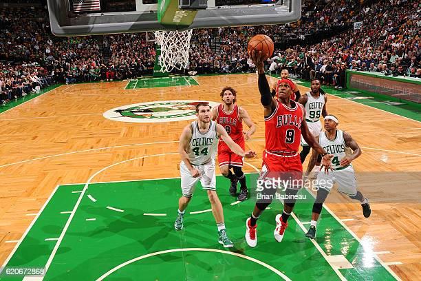 Rajon Rondo of the Chicago Bulls shoots the ball against the Boston Celtics on November 2 2016 at the TD Garden in Boston Massachusetts NOTE TO USER...