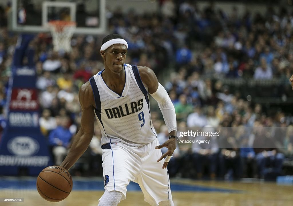 Rajon Rondo #9 of the Dallas Mavericks in action against the Los Angeles Lakers during a basketball match on December 26, 2014 at the American Airlines Center in Dallas, Texas.