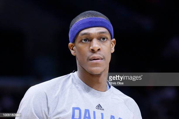 Rajon Rondo of the Dallas Mavericks warms up before the game against the LA Clippers on January 10 2015 at the STAPLES Center in Los Angeles...