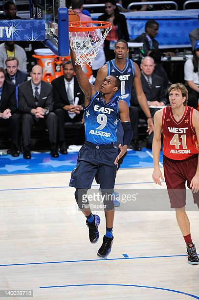 Rajon Rondo of the Eastern Conference All-Stars shoots a layup against Dirk Nowitzki of the Western Conference All-Stars during the 2012 NBA All-Star...