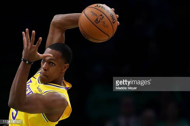 Rajon Rondo of the Los Angeles Lakers catches a pass during the second half against the Boston Celtics at TD Garden on February 07 2019 in Boston...