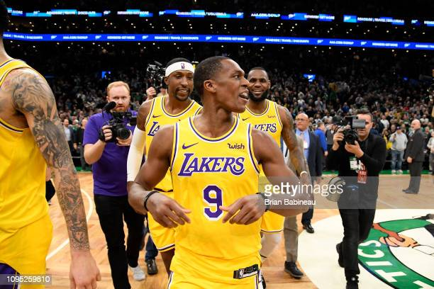 Rajon Rondo of the Los Angeles Lakers celebrates after the game against the Boston Celtics on February 7 2019 at the TD Garden in Boston...