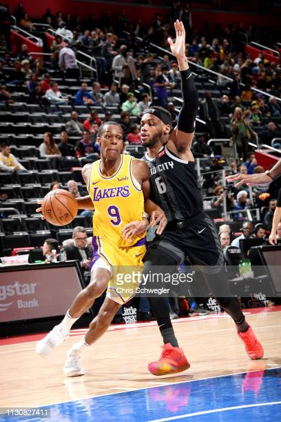Rajon Rondo of the Los Angeles Lakers handles the ball against Bruce Brown of the Detroit Pistons on March 15 2019 at Little Caesars Arena in Detroit...