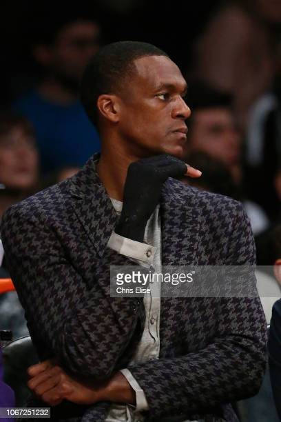 Rajon Rondo of the Los Angeles Lakers looks on during the game against the Utah Jazz on November 23 2018 at the STAPLES Center in Los Angeles...