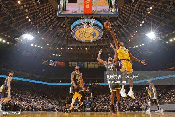 Rajon Rondo of the Los Angeles Lakers shoots the ball against the Golden State Warriors on February 2 2019 at ORACLE Arena in Oakland California NOTE...