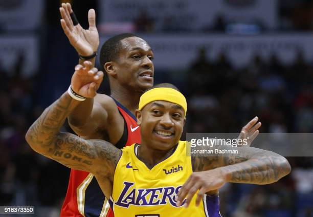 91448f84e52 Rajon Rondo of the New Orleans Pelicans and Isaiah Thomas of the Los  Angeles Lakers collide