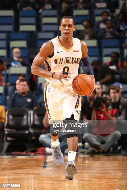 Rajon Rondo of the New Orleans Pelicans brings the ball up court against the Detroit Pistons on January 8 2018 at Smoothie King Center in New Orleans...