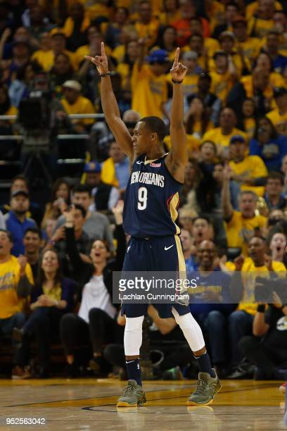Rajon Rondo of the New Orleans Pelicans celebrates a buzzerbeater at the end of the second quarter during Game One of the Western Conference...
