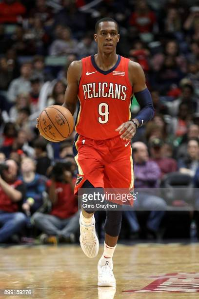Rajon Rondo of the New Orleans Pelicans drives the ball up the court against the Brooklyn Nets at the Smoothie King Center on December 27 2017 in New...