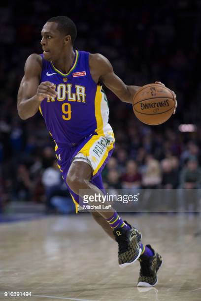 Rajon Rondo of the New Orleans Pelicans drives to the basket in the third quarter against the Philadelphia 76ers at the Wells Fargo Center on...