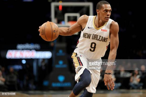 Rajon Rondo of the New Orleans Pelicans drives towards the basket in the second quarter against the Brooklyn Nets during their game at Barclays...
