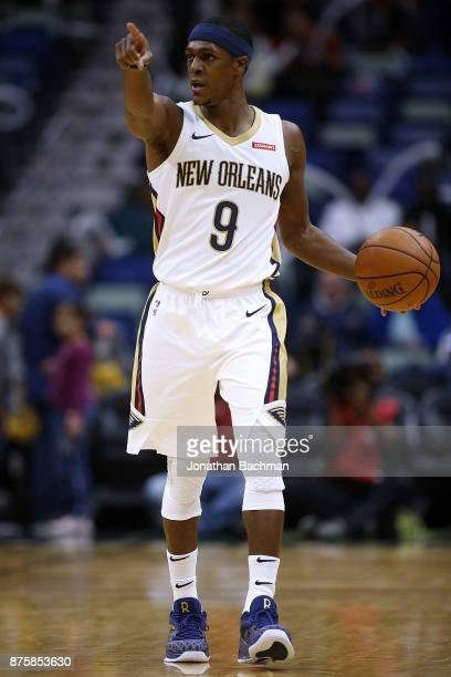 Rajon Rondo of the New Orleans Pelicans drives with the ball during the first half of a game against the Toronto Raptors at the Smoothie King Center...
