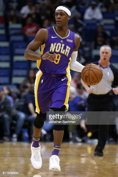 Rajon Rondo of the New Orleans Pelicans drives with the ball during the first half against the LA Clippers at the Smoothie King Center on January 28...