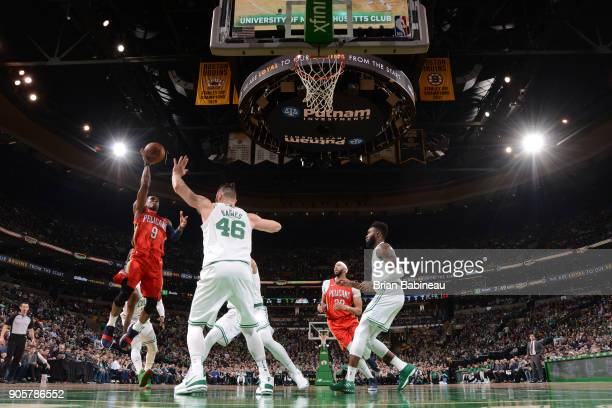 Rajon Rondo of the New Orleans Pelicans dunks against the Boston Celtics on January 16 2018 at the TD Garden in Boston Massachusetts NOTE TO USER...