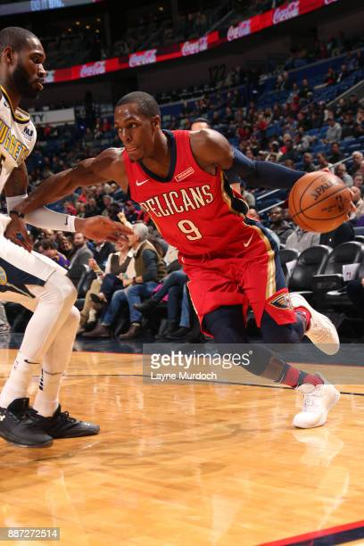 Rajon Rondo of the New Orleans Pelicans handles the ball against the Denver Nuggets on December 6 2017 at Smoothie King Center in New Orleans...
