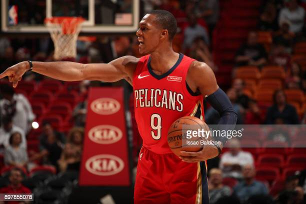 Rajon Rondo of the New Orleans Pelicans handles the ball against the Miami Heat on December 23 2017 at American Airlines Arena in Miami Florida NOTE...