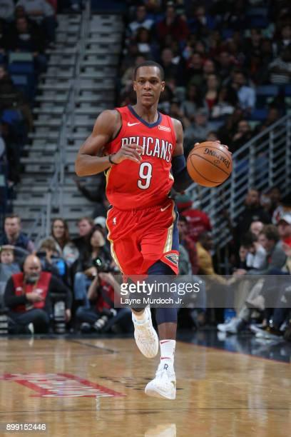 Rajon Rondo of the New Orleans Pelicans handles the ball against the Brooklyn Nets on December 27 2017 at Smoothie King Center in New Orleans...