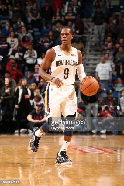 Rajon Rondo of the New Orleans Pelicans handles the ball against the New York Knicks on December 30 2017 at the Smoothie King Center in New Orleans...