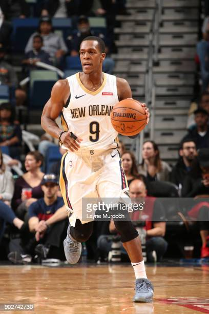 Rajon Rondo of the New Orleans Pelicans handles the ball against the Detroit Pistons on January 8 2018 at Smoothie King Center in New Orleans...