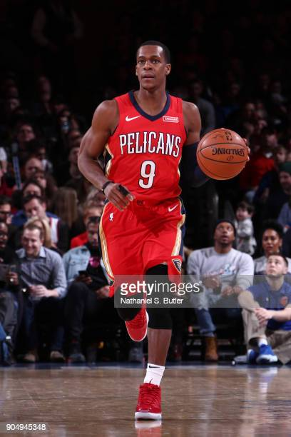 Rajon Rondo of the New Orleans Pelicans handles the ball against the New York Knicks on January 14 2018 at Madison Square Garden in New York City New...