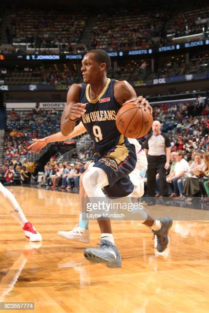 Rajon Rondo of the New Orleans Pelicans handles the ball against the Miami Heat on February 23 2018 at Smoothie King Center in New Orleans Louisiana...